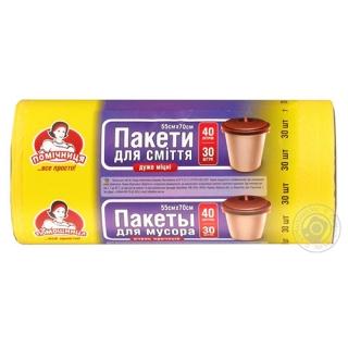 """Пакети для сміття ТМ """"Помічниця"""" 40 л., 30 шт., HDPE, 55см х 70см, жовті"""