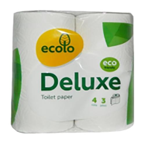 Туалетний папір Ecolo Deluxe, 4 рулони, Тришаровий, Білий